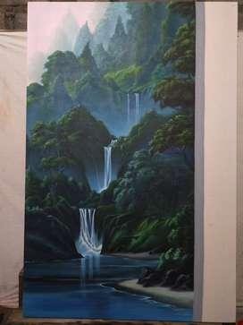 lukisan kanvas pemandangan air terjun yang indah