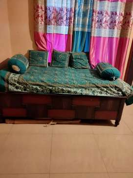 Wooden deewan 4x6 with storage with mattress