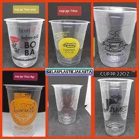 gelas plastik / cup plastik ukuran 10 oz 12oz 14oz 16oz 18oz 22oz