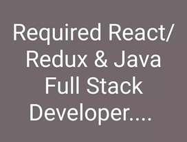We need React/ Redux & Java Full Stack Developer.