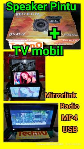 Paket audio sound Beltech Tv mobil & speaker doubledin tape head unit