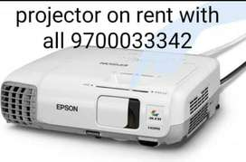 Projector on rent with screen,laptop,sound speakers, Mike's
