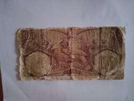 uang kertas 100 rupiah thn 1955 & 1958
