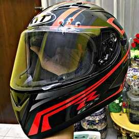 Helm Full Face Fullface KYT Vendetta Carbon Black-Red Fluo GSX-R 150