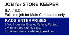 Job for BA / BCom as Store Keeper