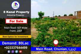 8-Kanal Property for Sale in Main Road, Chunian, (چونیاں)