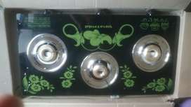 Brand new glass top 3 burner automatic gas