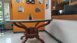 Dining Table Teak wood with designed glass