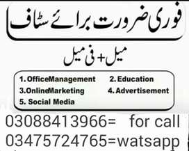 Online jobs for males females students teachers Lahore all Pakistan