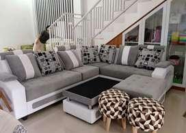 Sofa sudut mewah dengan 2 stoll (cod)