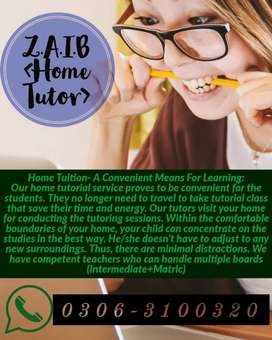 Z.A.I.B home tutor. Home tuition available contact me!