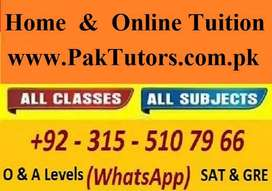 Get Experienced Home Tutor/Online Tutor for Federal Board/IELTS/Quran