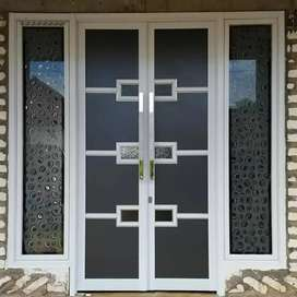 Pintu kaca tempered, Railing tangga balkon, pintu jendela aluminium