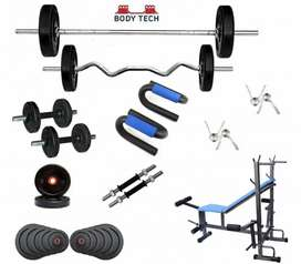 Gym combo 40 kg with 2 dumbell rods with 6 in 1 bench and push up stan