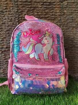 Tas Anak Bali LOL Unicorn Sequin Monte kelip hologram Hits kekinian