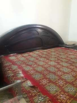 Double bed with two teapoy and mattress