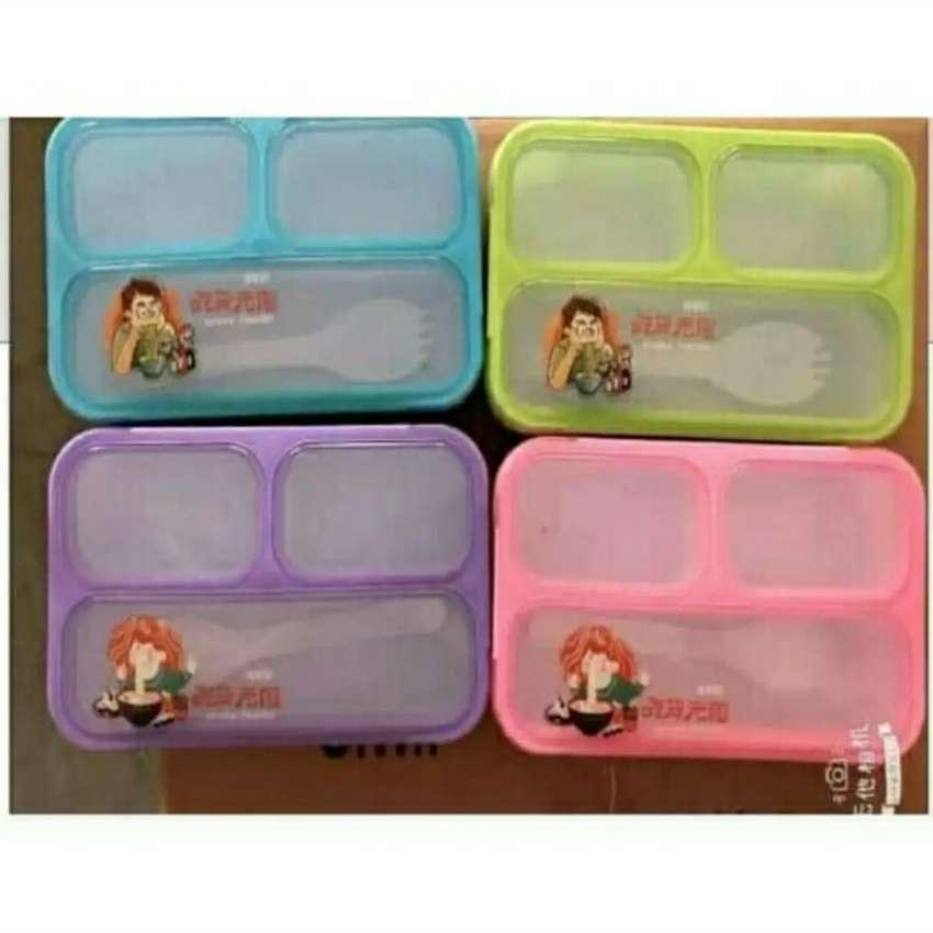 3 sekat kotak makan yooyee mini lunch box 3 sekat bekal sekolah 0