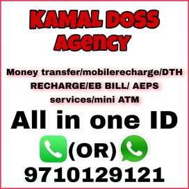 Money transfer/recharge service/EB BILLS/AEPS Service/mini ATM