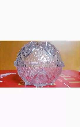 Sepasang 2pc Mangkuk Kaca Kristal Mangkok Kecil Bening Bermotif