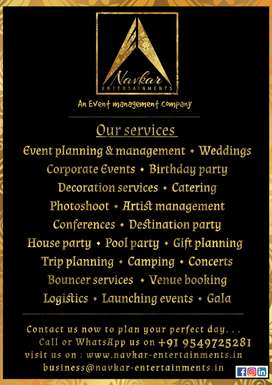 Budget Event management and decoration services