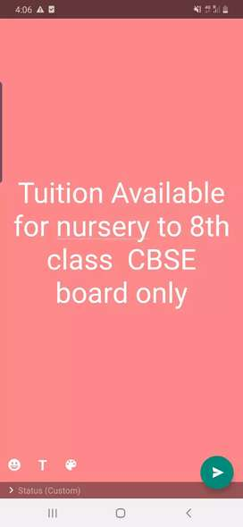 Tuition available for class Nursery to 8th