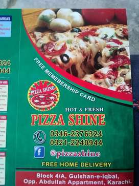 Pizza shine . required delivery boy and helper. Taqwa imam bargah