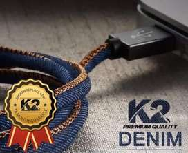 Kabel charger lightning iPhone motif jeans denim kecw badai
