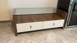 Imported glass-top coffee table with storage