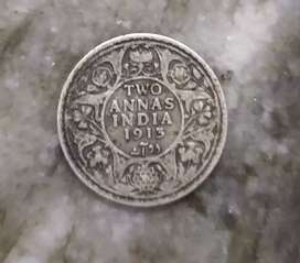 1913 Indian 2 Anna's Rupees