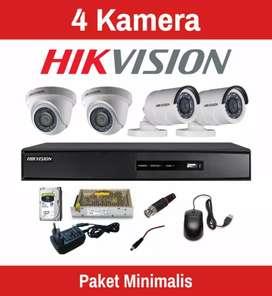Paket Cctv 4 kamera Fullset Hikvision 1080P di Serang