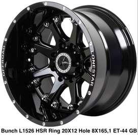 velg hsr wheel BUNCH L1526 HSR R20X12 H8X165,1 ET-44 GLOSS BLACK (CB1)