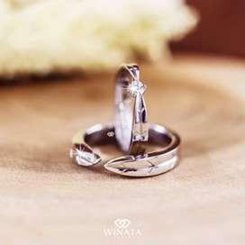 Cincin Couple Bahan Emas Putih & Palladium Garansi Satu Tahun AG 7
