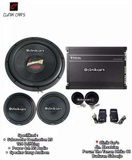 •Paket Audio Mobil 2way Audison, Power focal, Woofer Domi Monster