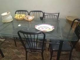 Dinning table iron 8mm mirror 5 chairs
