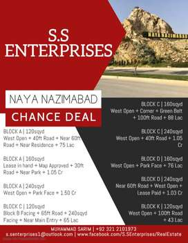 Naya Nazimabad   Block A   120sqyd + West Open + 40ft Road + Near 60ft