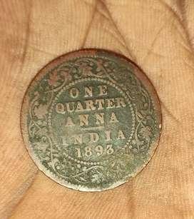 One quarter anna coin