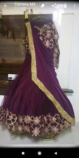 Designer wine drape gown used once