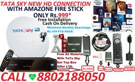 TATA SKY NEW HD CONNECTION WITH#AMAZONE 4K SUPPORTED FIRE STICK-999*