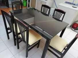 Meja makan jati + kaca + 6 kursi