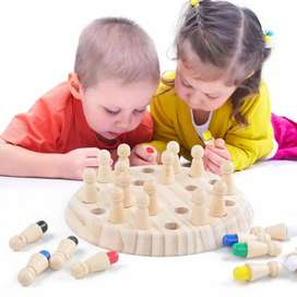 Kids wooden memory chess game