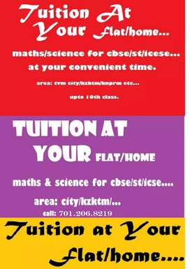 Teacher / Tuition At Your Home/Flat for CBSE/ST/ICSE