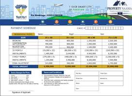 Top City1 5 Marla Plot in BlokG For Sale Installments Schedule