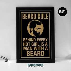 IP431 Poster Barbershop Beard Rule Hot Girl 02 45x30cm