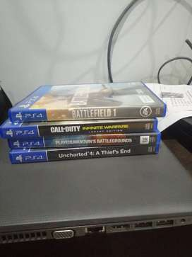 Ps4 games 4 pack cod infinity warefare, uncharted 4, pubg,battlefield1