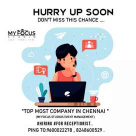 "My Focus studios event management ""is Hiring  for receptionist.."