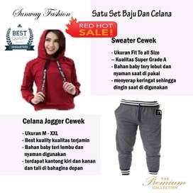 AM00291 Celana Setelan Satu set Sweater cewek dan celana joger