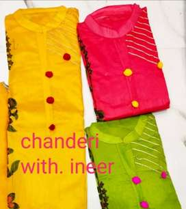 CHANDERI WITH INNER SUIT AND DUPATTA