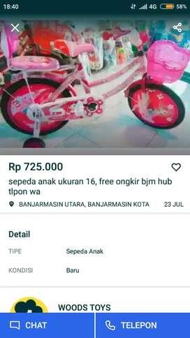 Sepeda anak ukuran 16, free ongkir bjm hub tlpon wa aja