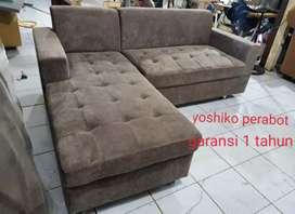 Yoshiko perabot - sofa L deko coklat