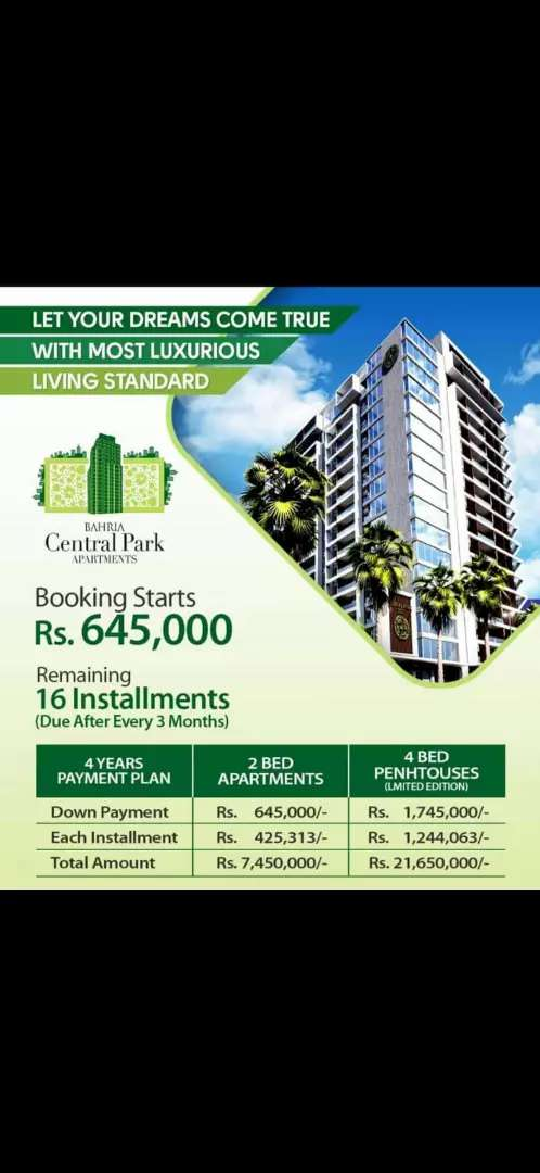 2bed appartment luxeries new York style Park face Bahria Town Karchi 0